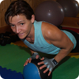 Eduarda on medicine ball
