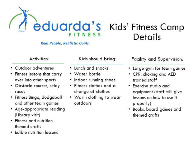Kids Fitness Camp Info Sheet